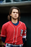 New Hampshire Fisher Cats shortstop Bo Bichette (5) during the national anthem before the first game of a doubleheader against the Harrisburg Senators on May 13, 2018 at FNB Field in Harrisburg, Pennsylvania.  Harrisburg defeated New Hampshire 2-1.  (Mike Janes/Four Seam Images)