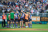 20120803 Copyright onEdition 2012©.Free for editorial use image, please credit: onEdition..Matt Banahan of Bath Rugby turns round during a half time huddle against London Welsh 7s at The Recreation Ground, Bath in the Final round of The J.P. Morgan Asset Management Premiership Rugby 7s Series...The J.P. Morgan Asset Management Premiership Rugby 7s Series kicked off again for the third season on Friday 13th July at The Stoop, Twickenham with Pool B being played at Edgeley Park, Stockport on Friday, 20th July, Pool C at Kingsholm Gloucester on Thursday, 26th July and the Final being played at The Recreation Ground, Bath on Friday 3rd August. The innovative tournament, which involves all 12 Premiership Rugby clubs, offers a fantastic platform for some of the country's finest young athletes to be exposed to the excitement, pressures and skills required to compete at an elite level...The 12 Premiership Rugby clubs are divided into three groups for the tournament, with the winner and runner up of each regional event going through to the Final. There are six games each evening, with each match consisting of two 7 minute halves with a 2 minute break at half time...For additional images please go to: http://www.w-w-i.com/jp_morgan_premiership_sevens/..For press contacts contact: Beth Begg at brandRapport on D: +44 (0)20 7932 5813 M: +44 (0)7900 88231 E: BBegg@brand-rapport.com..If you require a higher resolution image or you have any other onEdition photographic enquiries, please contact onEdition on 0845 900 2 900 or email info@onEdition.com.This image is copyright the onEdition 2012©..This image has been supplied by onEdition and must be credited onEdition. The author is asserting his full Moral rights in relation to the publication of this image. Rights for onward transmission of any image or file is not granted or implied. Changing or deleting Copyright information is illegal as specified in the Copyright, Design and Patents Act 1988. If you are in any way unsure of your