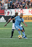 FOXBOROUGH, MA - SEPTEMBER 29: Maximiliano Moralez #10 of New York City FC controls the ball during a game between New York City FC and New England Revolution at Gillettes Stadium on September 29, 2019 in Foxborough, Massachusetts.
