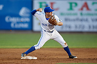 Bluefield Blue Jays shortstop Rafael Lantigua (25) turns a double play during a game against the Bristol Pirates on July 26, 2018 at Bowen Field in Bluefield, Virginia.  Bristol defeated Bluefield 7-6.  (Mike Janes/Four Seam Images)