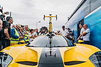 Picture by Russell Ellis/russellis.co.uk/SWpix.com - image archived on 25/04/2019 Cycling Tour de France 2018 - Team Sky at the Tour de France - STAGE 21: HOUILLES - PARIS Champs-Elysées 29/07/2018<br /> - Team Sky yellow Ford GT