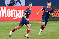 CHICAGO, UNITED STATES - AUGUST 25: Alvaro Medran #10 of Chicago Fire celebrates his goal with teammates during a game between FC Cincinnati and Chicago Fire at Soldier Field on August 25, 2020 in Chicago, Illinois.