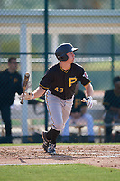 Pittsburgh Pirates right fielder Ryan Nagle (49) follows through on a swing during a minor league Extended Spring Training intrasquad game on April 1, 2017 at Pirate City in Bradenton, Florida.  (Mike Janes/Four Seam Images)