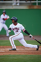 Potomac Nationals center fielder Victor Robles (16) at bat during the first game of a doubleheader against the Salem Red Sox on May 13, 2017 at G. Richard Pfitzner Stadium in Woodbridge, Virginia.  Potomac defeated Salem 6-0.  (Mike Janes/Four Seam Images)