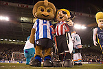 Sheffield United 1 Reading 1, 14/02/2006. Bramall Lane, Championship. The Sheffield Wednesday mascot joins in the half time penalty shoot out. Photo by Paul Thompson. Both teams were promoted, Reading as champions with 106 points, Sheffield United were second, 9 points clear of 3rd place Watford, who were promoted through the play offs.