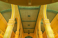 A Catholic Church in Macow, China is painted in yellow and green typical for the Portuguese people.