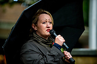 Monday 05 June 2017<br /> Pictured: Rebecca Evans AM addresses the public <br /> Re: A vigil has been held in Swansea City Centre to remember the victims of the recent terror attack in London. Stand up to Racism Swansea have organised the event alongside Swansea Coalition Against War and Swansea People's Assembly.