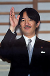 December 23, 2012, Tokyo, Japan - Prince Akishino waves to a throng of well-wishers from behind the bullet-proof glass panel of the Imperial Palace balcony during a general audience in Tokyo on Sunday, December 23, 2012, on the 79th birthday of Emperor Akihoto. Akishino is the second son of the monarch. (Photo by AFLO) UUK -mis-