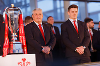 (L-R) Head coach Warren Gatland and Jonathan Davies during the Celebration for Wales Six Nations Win at the National Assembly for Wales, Cardiff Bay, Wales, UK. Monday 18 March 2019