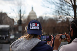 A person wears a Biden/Harris hat during the 59th inaugural ceremony for President Joe Biden and Vice President Kamala Harris on Wednesday, January 20, 2021 in Washington D.C.. Biden succeeds President Donald Trump to serve as the 46th President of the U.S., as Harris becomes the first female Vice President.  Photograph by Michael Nagle