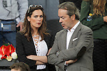 Spanish actress Mar Saura with her husband Javier Revuelta del Peral, president of the Royal Spanish Equestrian Federation, during Madrid Open Tennis 2016 match.May, 6, 2016.(ALTERPHOTOS/Acero)