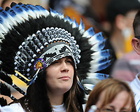An Exeter Chiefs fan looks nervous during the Premiership Rugby Final at Twickenham Stadium on Saturday 27th May 2017 (Photo by Rob Munro)