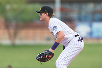 Salt River Rafters first baseman Tyler Nevin (2), of the Colorado Rockies organization, during an Arizona Fall League game against the Surprise Saguaros at Salt River Fields at Talking Stick on October 23, 2018 in Scottsdale, Arizona. Salt River defeated Surprise 7-5 . (Zachary Lucy/Four Seam Images)