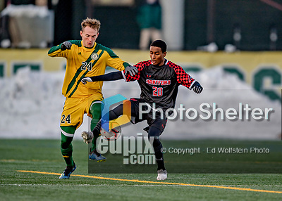13 November 2019: University of Vermont Catamount Midfielder Joe Morrison, a Sophomore from Foxboro, MA, battles University of Hartford Hawk Midfielder Addrian Knights-Browne, a Freshman from North York, Ontario, at Virtue Field in Burlington, Vermont. The Catamounts fell to the visiting Hawks 3-2 in sudden death overtime of the Division 1 Men's Soccer America East matchup. Mandatory Credit: Ed Wolfstein Photo *** RAW (NEF) Image File Available ***