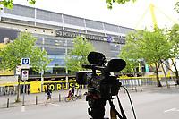 16th May 2020, Signal Iduna Park, Dortmund, Germany; Bundesliga football, Borussia Dortmund versus FC Schalke; A camera standing in front of the Signal Iduna Park in Dortmund