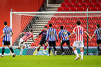 16th February 2021; Bet365 Stadium, Stoke, Staffordshire, England; English Football League Championship Football, Stoke City versus Sheffield Wednesday; Steven Fletcher of Stoke City shoots and scores an 83rd minute goal for 1-0