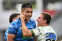 14th March 2021; Eden Park, Auckland, New Zealand;  Rieko Ioane (L) and Mitch Hunt, Blues v Highlanders, Super Rugby Aotearoa. Eden Park, Auckland. New Zealand. Sunday 14 March 2021.