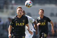 LOS ANGELES, CA - APRIL 17: Corey Baird #13 of LAFC chases the ball during a game between Austin FC and Los Angeles FC at Banc of California Stadium on April 17, 2021 in Los Angeles, California.