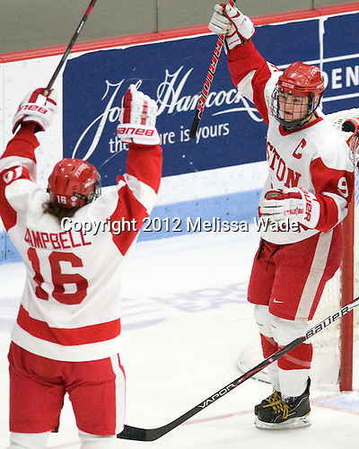 Caroline Campbell (BU - 16), Jenn Wakefield (BU - 9) - The Boston University Terriers defeated the Harvard University Crimson 5-2 on Monday, January 31, 2012, in the opening round of the 2012 Women's Beanpot at Walter Brown Arena in Boston, Massachusetts.