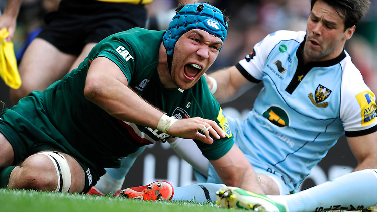Graham Kitchener of Leicester Tigers shows his delight at scoring a try during the Aviva Premiership Final between Leicester Tigers and Northampton Saints at Twickenham Stadium on Saturday 25th May 2013 (Photo by Rob Munro)