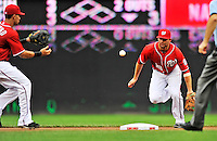 25 September 2011: Washington Nationals infielder Danny Espinosa makes a play at second against the Atlanta Braves at Nationals Park in Washington, DC. The Nationals shut out the Braves 3-0 to take the rubber match third game of their 3-game series - the Nationals' final home game for the 2011 season. Mandatory Credit: Ed Wolfstein Photo