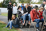Veterans, including B Trooper Ray Arnold and his family, listen during the rededication ceremony of the 1st Squadron, 9th Cavalry monument at Motts Military Museum in Groveport, Ohio.