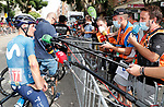 Enric Mas (ESP) Movistar Team talks to the media after Stage 10 of La Vuelta d'Espana 2021, running 189km from Roquetas de Mar to Rincón de la Victoria, Spain. 24th August 2021.     <br /> Picture: Luis Angel Gomez/Photogomezsport   Cyclefile<br /> <br /> All photos usage must carry mandatory copyright credit (© Cyclefile   Luis Angel Gomez/Photogomezsport)