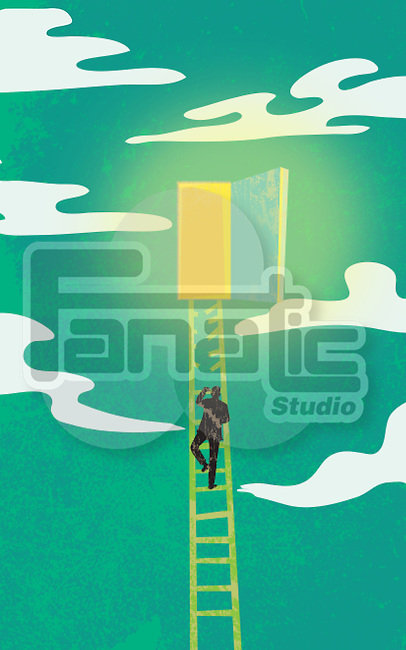 Illustration of man on broken ladder