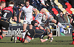Dragons flanker James Benjamin tackles Ulster lock Franco Van Der Merwe.<br /> Guinness Pro12<br /> Gwent Dragons v Ulster<br /> 08.03.15<br /> ©Steve Pope - SPORTINGWALES