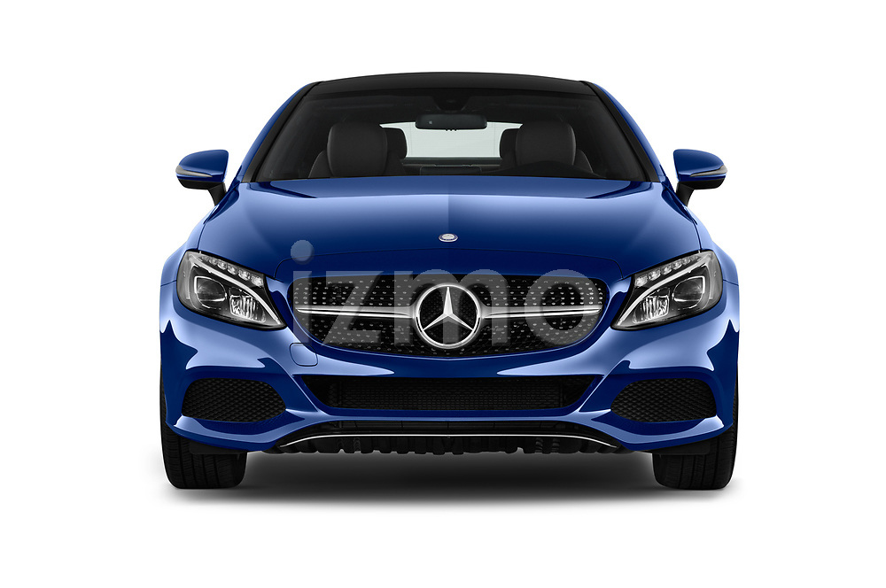 Car photography straight front view of a 2018 Mercedes Benz C-Class C300 2 Door Coupe Front View