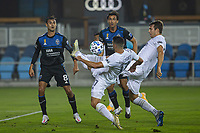 SAN JOSE, CA - SEPTEMBER 13: Sebastian Lletget #17 and Nick DePuy #20 clear the ball as Chris Wondolowski  8 and Oswaldo Alanis #4 of the San Jose Earthquakes look on during a game between Los Angeles Galaxy and San Jose Earthquakes at Earthquakes Stadium on September 13, 2020 in San Jose, California.