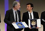 Spanish film director Fernando Trueba with the Silver Shell best director award and the french film director Francois Ozon with the Golden Shell best film award (r) during the Awards Gala in the 60th San Sebastian Donostia International Film Festival - Zinemaldia.September 29,2012.(ALTERPHOTOS/ALFAQUI/Acero)