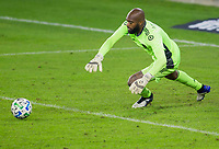 CARSON, CA - OCTOBER 28: Kenneth Vermeer #1 goalkeeper of the Los Angeles FC reaches for a loose ball during a game between Houston Dynamo and Los Angeles FC at Banc of California Stadium on October 28, 2020 in Carson, California.