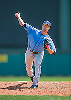 14 March 2016: Tampa Bay Rays pitcher Tyler Sturdevant on the mound during a pre-season Spring Training game against the Atlanta Braves at Champion Stadium in the ESPN Wide World of Sports Complex in Kissimmee, Florida. The Ray fell to the Braves 5-0 in Grapefruit League play. Mandatory Credit: Ed Wolfstein Photo *** RAW (NEF) Image File Available ***