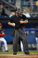 Umpire Scott Molloy during a game between the Williamsport Crosscutters and Batavia Muckdogs on September 1, 2016 at Dwyer Stadium in Batavia, New York.  Williamsport defeated Batavia 10-3. (Mike Janes/Four Seam Images)