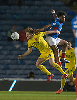 Fleetwood Town's Lewis Gibson (left) battles with Portsmouth's Ellis Harrison (right) <br /> <br /> Photographer David Horton/CameraSport<br /> <br /> The EFL Sky Bet League One - Portsmouth v Fleetwood Town - Tuesday 10th March 2020 - Fratton Park - Portsmouth<br /> <br /> World Copyright © 2020 CameraSport. All rights reserved. 43 Linden Ave. Countesthorpe. Leicester. England. LE8 5PG - Tel: +44 (0) 116 277 4147 - admin@camerasport.com - www.camerasport.com