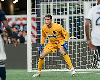 FOXBOROUGH, MA - JUNE 26: Matt Freese #1 during a game between Philadelphia Union and New England Revolution at Gillette Stadium on June 26, 2019 in Foxborough, Massachusetts.