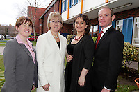 28/1/11 Minister Mary Hanafin with the Limelight team Karen Morgan, Katherine Byrne and Glen Hogarty at the stand at the launch of the Holiday World Show at the RDS, Dublin, which runs from Friday 28th untill Sunday 30th January. Picture: Arthur Carron/Collins