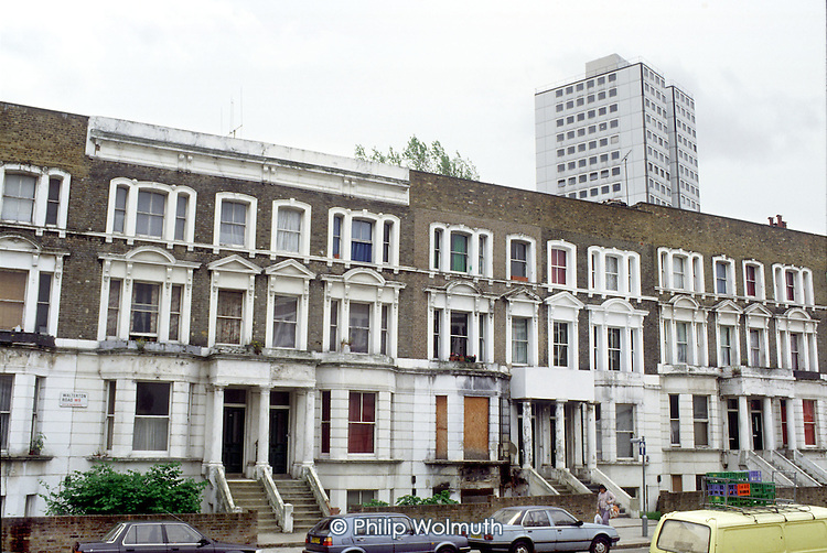 Walterton Road in 1991, before the demolition of Chantry Point and refurbishment of Victorian terraces by resident-controlled Walterton and Elgin Community Homes, which took over the estate from Westminster City Council.