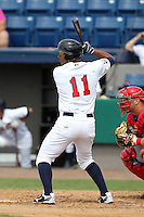 Brevard County Manatees outfielder Miguel Velazquez #11 during a game against the Clearwater Threshers at Space Coast Stadium on April 30, 2012 in Viera, Florida.  Clearwater defeated Brevard County 5-1.  (Mike Janes/Four Seam Images)