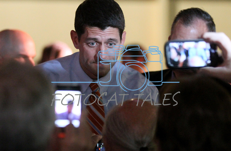 Republican Vice-Presidential candidate, Congressman Paul Ryan greets the crowd following a campaign rally in Reno, Nev., on Thursday, Nov. 1, 2012. .Photo by Cathleen Allison
