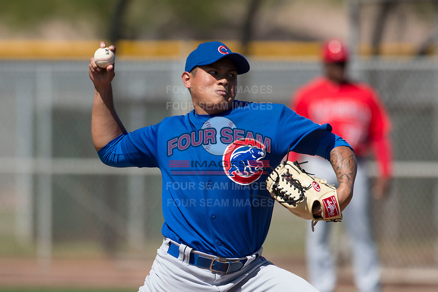 Chicago Cubs relief pitcher Manuel Rodriguez (51) during a Minor League Spring Training game against the Los Angeles Angels at Sloan Park on March 20, 2018 in Mesa, Arizona. (Zachary Lucy/Four Seam Images)