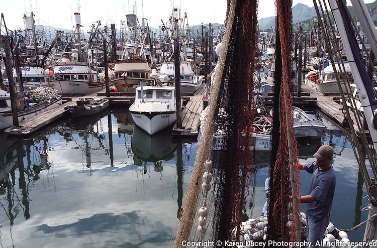 Salmon seiners and fishing boats in the harbor in Kodiak, Alaska
