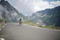 race leaders Mikel Nieve (ESP/SKY) & Blel Kadri (FRA/Ag2r-La Mondiale) coming down fast over the top of the Col du Tourmalet (HC/2115m/17.1km/7.3%)<br /> <br /> 2014 Tour de France<br /> stage 18: Pau - Hautacam (145km)