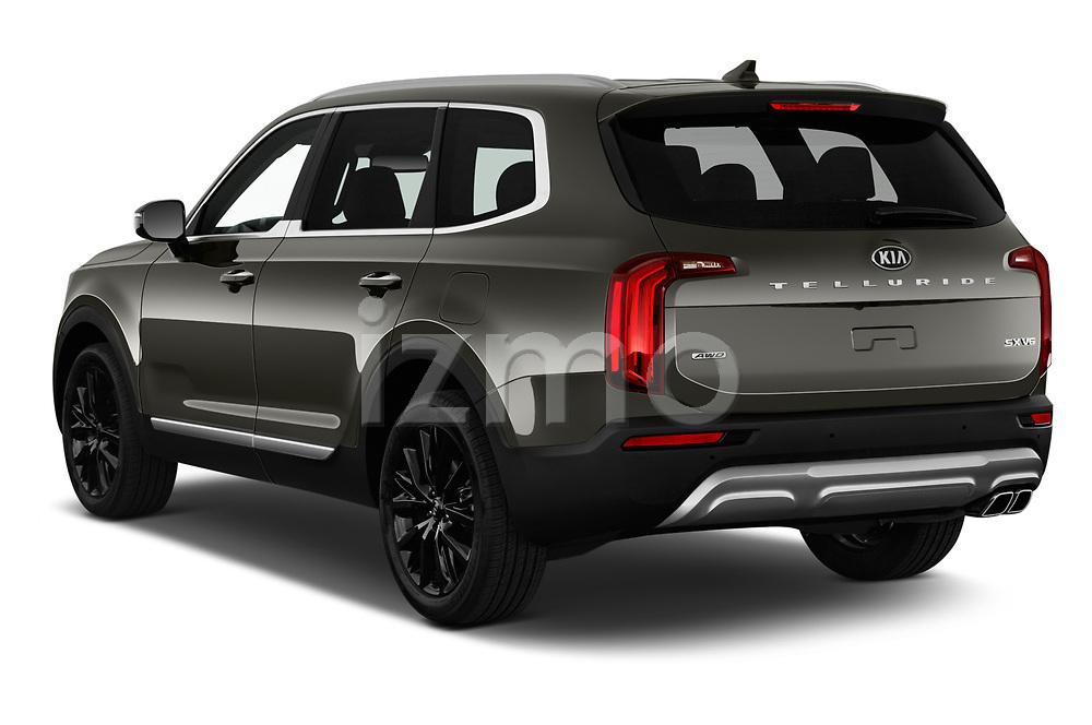 Car pictures of rear three quarter view of a 2020 KIA Telluride SX 5 Door SUV angular rear