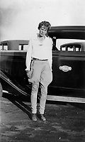 FILE PHOTO - Amelia Earhart, forced to land by engine problems and transported back to Los Angeles by Standard Oil Company, Taft, California, 1932 (exact date unknown)