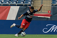 FOXBOROUGH, MA - MAY 12: Damian Rivera #72 of New England Revolution II dribbles during a game between Union Omaha and New England Revolution II at Gillette Stadium on May 12, 2021 in Foxborough, Massachusetts.