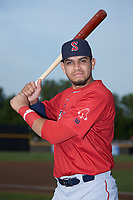 Salem Red Sox first baseman Pedro Castellanos (28) poses for a photo prior to the game against the Fayetteville Woodpeckers at Segra Stadium on May 15, 2019 in Fayetteville, North Carolina. The Woodpeckers defeated the Red Sox 6-2. (Brian Westerholt/Four Seam Images)