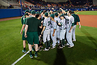 Siena Saints team huddle after a game against the Florida Gators on February 16, 2018 at Alfred A. McKethan Stadium in Gainesville, Florida.  Florida defeated Siena 7-1.  (Mike Janes/Four Seam Images)