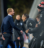 3rd November 2020, The John Smiths Stadium, Huddersfield, Yorkshire, England; English Football League Championship Football, Huddersfield Town versus Bristol City; Dean Holden Manager of Bristol City celebrates his teams goal on the 83 min from Jamie Paterson